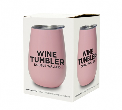 Wine Tumbler Double Walled Gloss Candy Pink