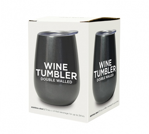 Wine Tumbler Double Walled Gunmetal Grey
