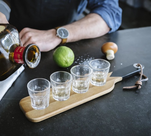 Gentlemen's Hardware Serving Paddle and Shot Glasses