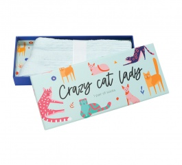 Sock Gift Box - Crazy Cat Lady