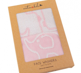 Emotion and Kids Baby Face Washers 2 Piece Set - Pink or Blue