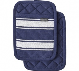 Ladelle Butcher Stripe Pot Holder Blue - 2 Pack