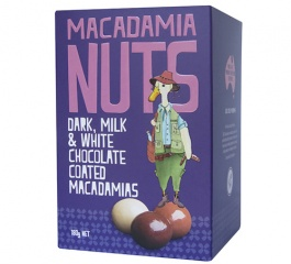 Duck Creek Dark, Milk and White Choc Macadamias 180g