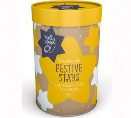 Molly Woppy Festive Stars Traditional Shortbread Tube 400g