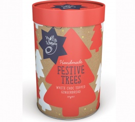 Molly Woppy Festive Trees White Choc Gingerbread Tube 375g