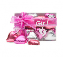 Chocolate Gems It's A Girl Choc Hearts 120g