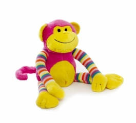 Milo Monkey - Bright Striped Hot Pink 38cm