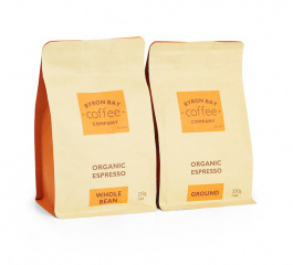 Byron Bay Coffee Organic Espresso Whole Bean or Ground 250g