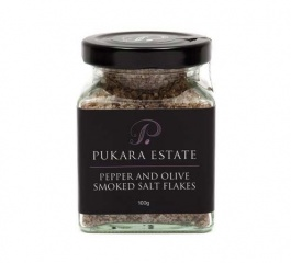Pukara Estate Pepper and Olive Smoked Salt Flakes 100g