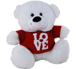 Teddy Bear White with Love Tshirt 23cm