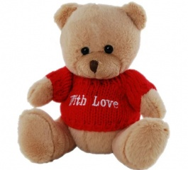 With Love Teddy in Red Jumper 14cm
