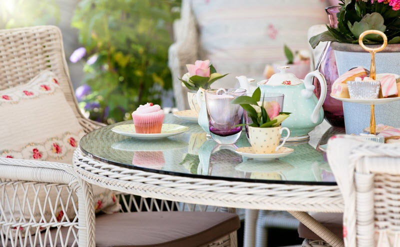 Mother's Day high tea, rattan table with decorative setting
